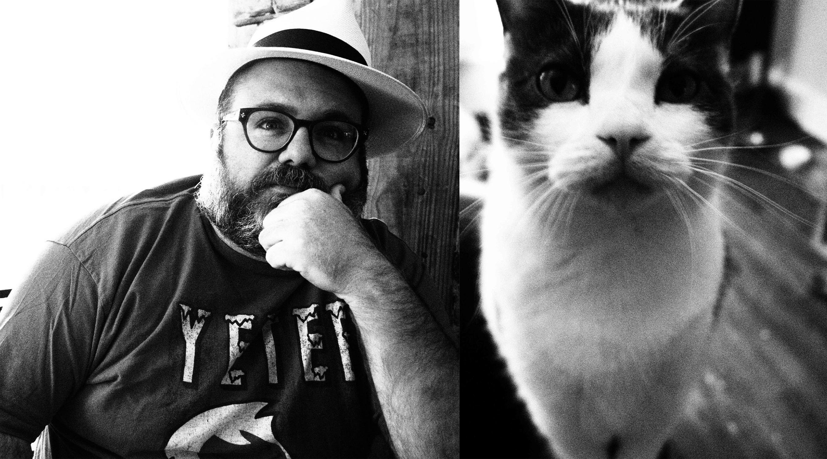 The author (left) and his cat, Joe.