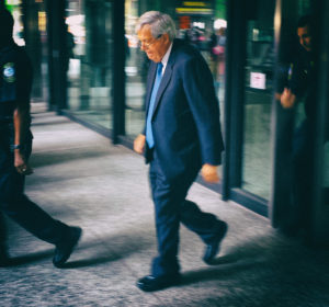 Dennis Hastert exits the federal courthouse in Chicago after his arraignment in June of 2015. (Photo by Tony Scott)